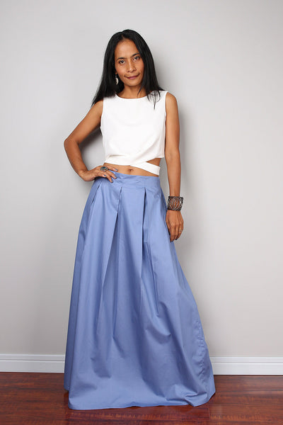 Light blue pleated skirt, blue maxi skirt, skirt with pocket, floor length skirt by Nuichan