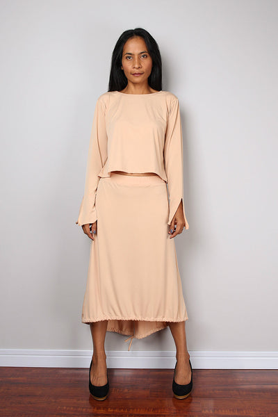 Two piece outfit, beige two piece dress, modest top with long sleeves and split cuffs, mid length skirt, elegant work outfit by Nuichan