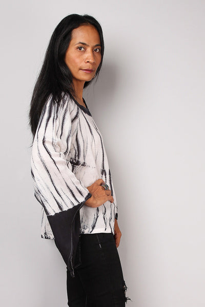 Black tie dye tunic, shibori hand dyed blouse tunic by Nuichan