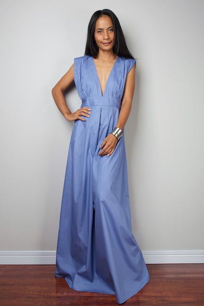 Blue maxi dress, bridesmaid dress with plunging neckline, sleeveless blue dress by Nuichan