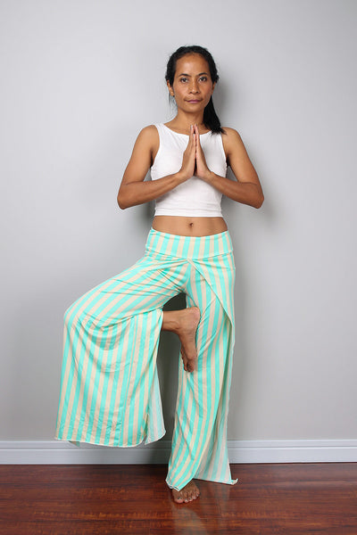 green and cream striped pants, split pants, yoga pants, comfy pants by Nuichan