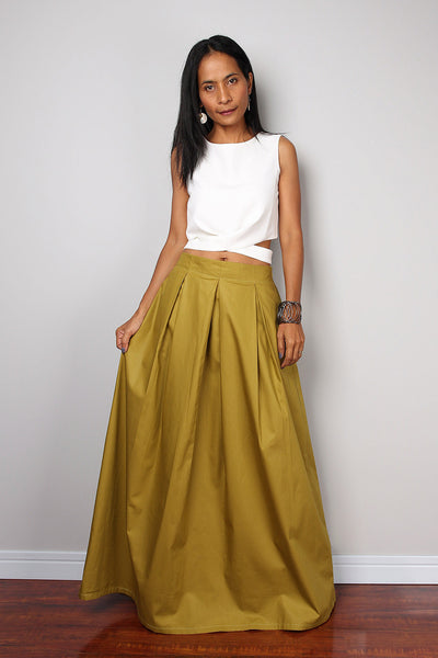 green pleated skirt, green maxi skirt, skirt with pocket, floor length skirt, olive green skirt by Nuichan