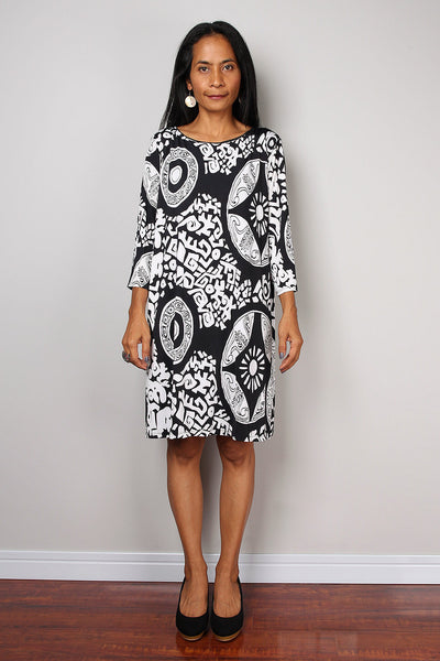 black and white dress, short dress with long sleeves, short black and white bold print dress, modest neckline dress, above the knee dress by Nuichan