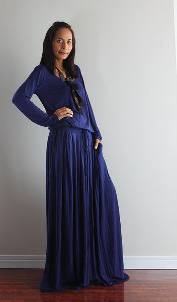 Plus size long sleeve navy blue dress, dark blue maxi dress with pockets by Nuichan