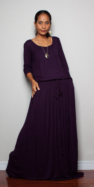 Dark purple dress, long sleeve dress, pleated skirt dress, dress with pockets, deep purple maxi dress by Nuichan