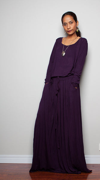 f5e8739af163 PLUS SIZE DRESS - Deep Purple Maxi Dress - Long Sleeve dress ...