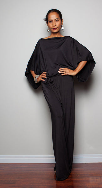 black jumpsuit, wide leg jumpsuit with blouse top part by Nuichan