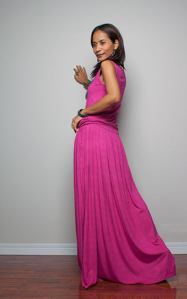 Hot pink dress, fuchsia pink maxi dress, pleated skirt dress, sleeveless dress, dress with pockets, pink dress by Nuichan