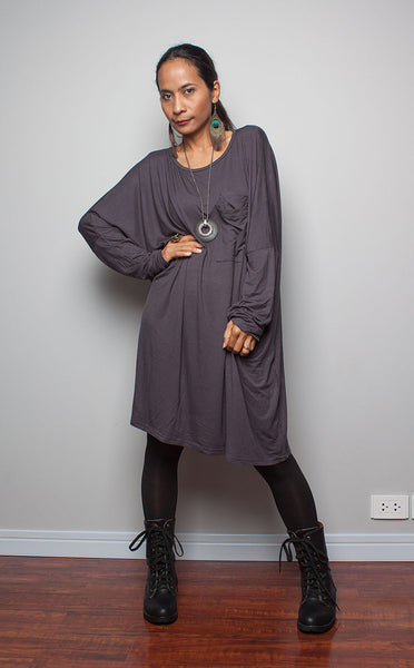 grey tunic blouse, navy grey tunic, long sleeve tunic with breast pocket, grey tunic by Nuichan