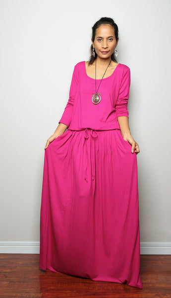 pink maxi dress, long pink dress, long sleeve dress, pleated skirt dress, dress with pockets, hot pink dress, fuchsia dress, modest dress, muslim dress, pink dress by Nuichan