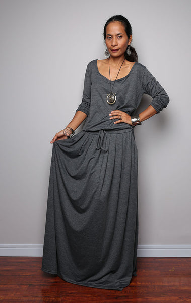 Top grey long sleeve dress, dark grey maxi dress, plus size dress with pockets, pleated skirt dress by Nuichan