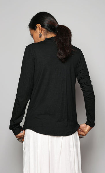 Black long sleeved blouse with plunging cowl neckline by Nuichan