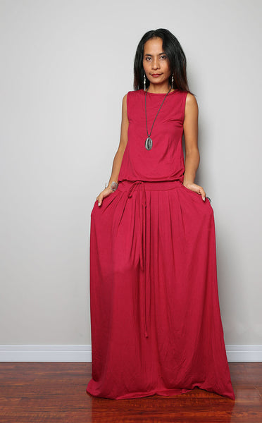 Sleeveless red maxi dress with pleated skirt, wine red dress by Nuichan