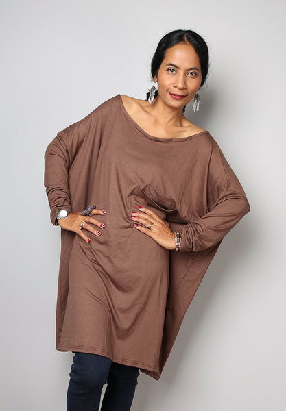 latte tunic dress, light brown tunic, long sleeved tunic, latte tunic by Nuichan
