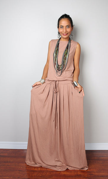 Sleeveless nude maxi dress with pleated skirt, light brown dress with pockets by Nuichan