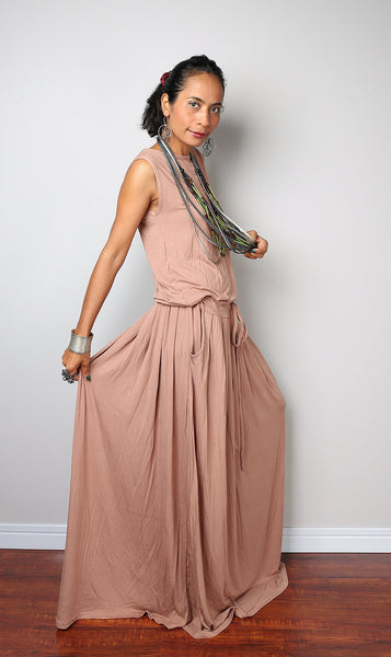 Sleeveless nude maxi dress with pleated skirt, light brown dress with pockets, nude plus size dress by Nuichan
