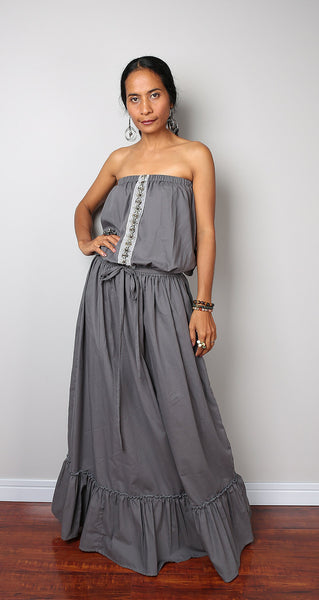 grey maxi dress, long grey dress, off the shoulder dress, grey dress, pleated skirt dress by Nuichan