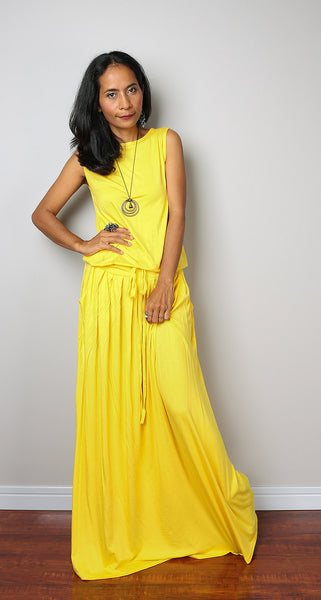 Sleeveless yellow maxi dress, yellow maxi dress by Nuichan