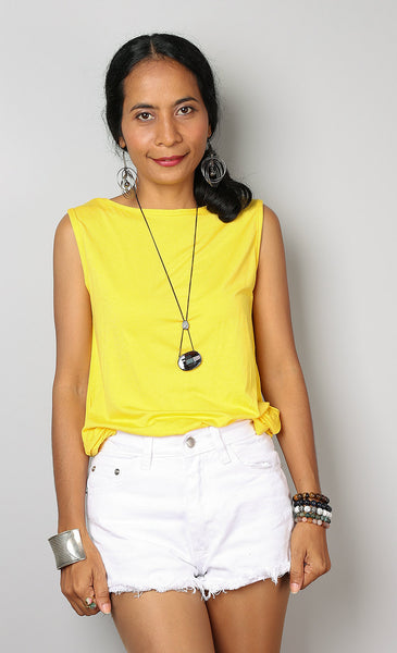 Yellow tank top, sleeveless t-shirt, yellow top by Nuichan