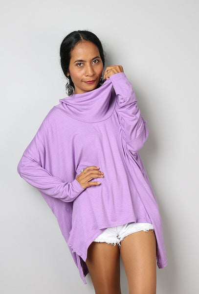 Soft purple tunic with long sleeves and small cowl neck by Nuichan