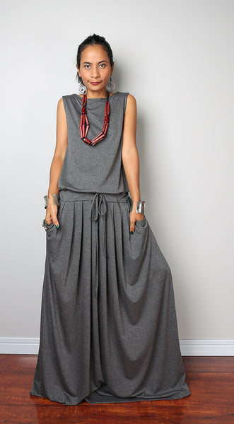Top grey sleeveless dress, dark grey maxi dress, plus size dress with pockets, pleated skirt dress by Nuichan