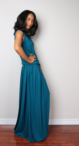 Plus size sleeveless teal dress, teal maxi dress by Nuichan