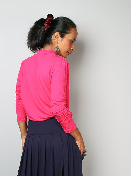 Pink blouse top, pink tunic with long sleeves, low cowl neckline, hot pink tunic, fuchsia top by Nuichan