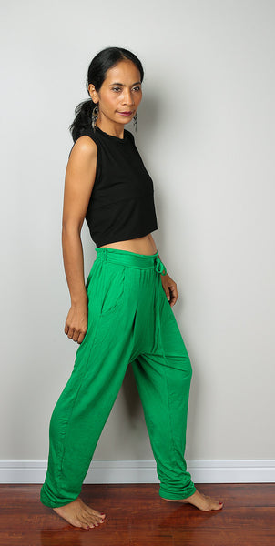 green pants, comfy green pants, loose fit pants, green harem pants, low crotch pants by Nuichan