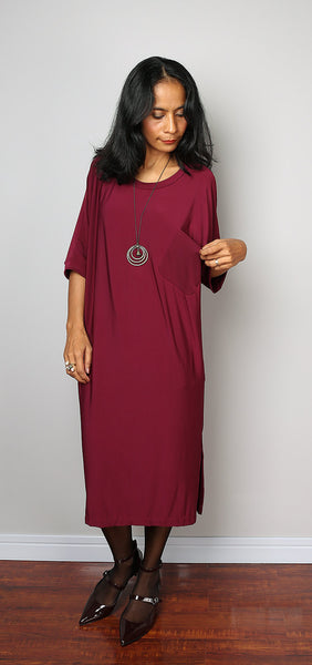 Burgundy dress, mid length dress, tube dress with short sleeves, split skirt dress by Nuichan