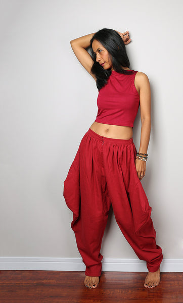 red harem pants, red cotton pants, puffy red pants by Nuichan