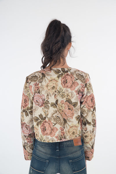 bolero jacket, short jacket, long sleeve jacket, cropped jacket, floral jacket, short floral jacket by Nuichan