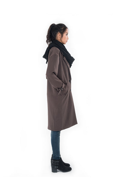 Dark brown trench coat, autumn coat, brown coat, elegant brown winter coat by Nuichan
