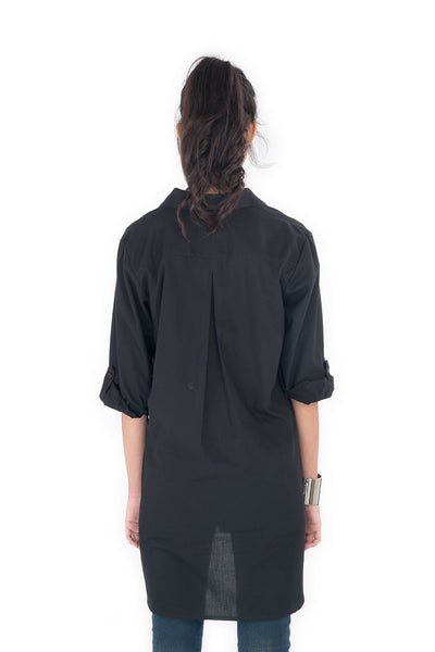 black blouse, black shirt, long sleeve blouse, blouse by Nuichan