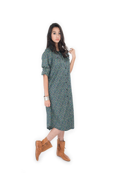 long shirt dress, blouse dress, floral shirt, cotton shirt by Nuichan