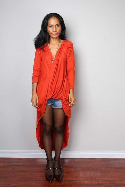 cross front dress, orange tunic dress, long sleeved tunic, swallowtail dress, plunging neckline tunic, orange tunic by Nuichan