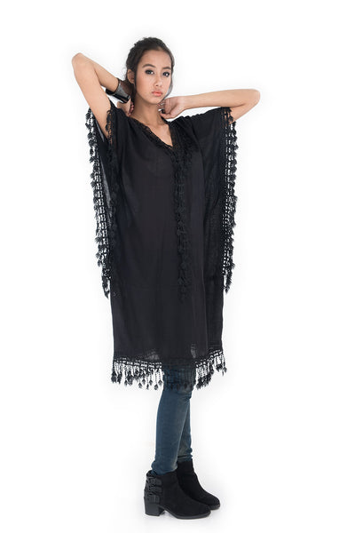 black kaftan dress, medium length kaftan, black kaftan, cotton and lace kaftan, summer kaftan, black boho kaftan, kaftan tunic by Nuichan