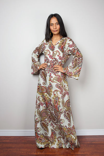 8c937cf491ac2 paisley boho dress, long sleeve dress, loose fit dress, boho maxi dress by