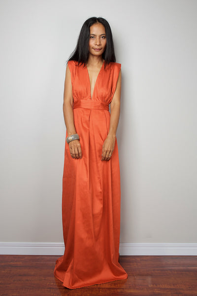 orange maxi dress, pleated skirt dress, sleeveless orange dress, bridesmaid dress, plunging neckline dress, empire waist dress, long orange dress by Nuichan