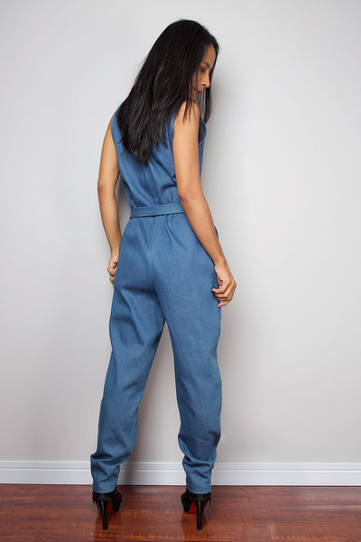 denim jumpsuit, high waist denim jumpsuit with sleeveless top, denim jumper by Nuichan