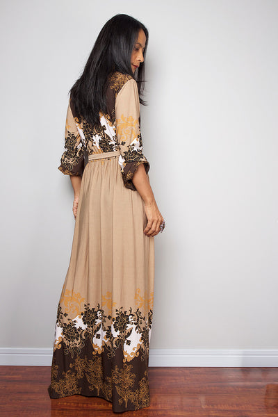 low cut boho dress with long sleeves, cream floral dress with plunging neckline by Nuichan