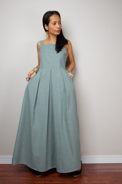 high waist denim dress with modest neckline, blue-green denim dress by Nuichan