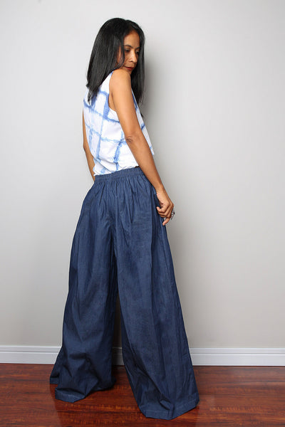 dark blue denim pants, wide leg pants, high waist pants by Nuichan