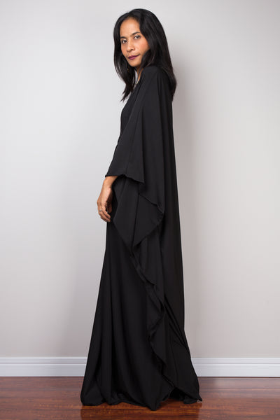 black kaftan dress, black diamond shape maxi dress, loose fit dress by Nuichan
