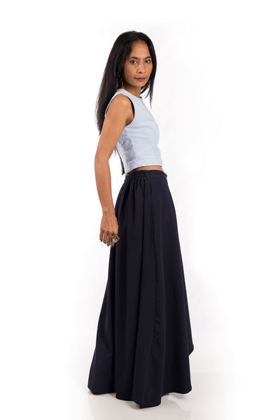 Navy Blue Skirt,  Split Skirt, Long Blue Skirt