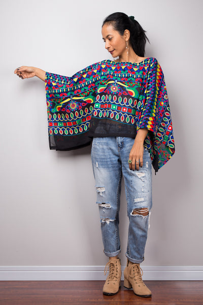 f1cfc68adc7 Boho poncho top, A cropped embroidered kaftan top, Light sweater ponch –  Nuichan