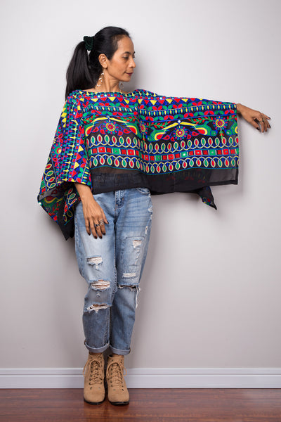 Boho poncho top, A cropped embroidered kaftan top, Light sweater poncho or beach cover