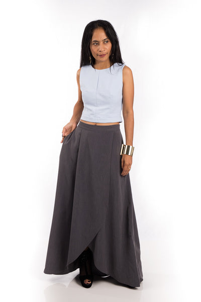 Grey Skirt,  Split Skirt, Long Grey Skirt