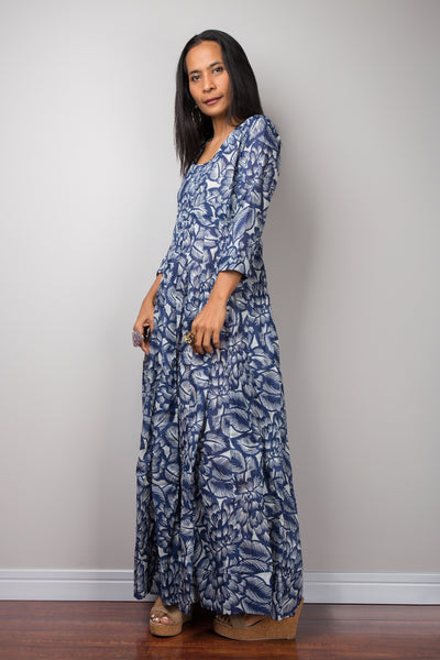 Blue Dress, summer dress, Long Sleeved Dress