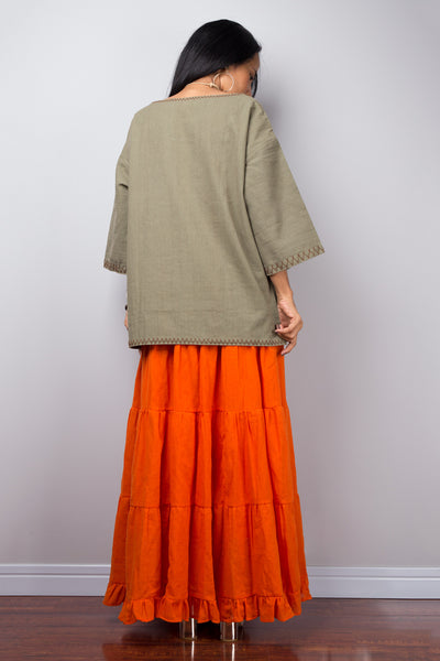 Modest cotton summer pullover top | Khaki green women's tunic top