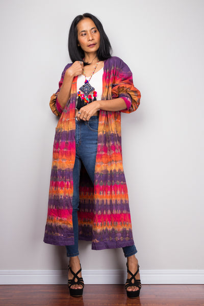Buy tie dye cardigans online from Nuichan. Tie Dye Cardigan with fitted bishop sleeves and pockets.